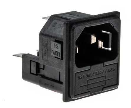 Bulgin C14 Snap-In IEC Connector Male, 10A, 250 V ac, Fuse Size 5 x 20mm