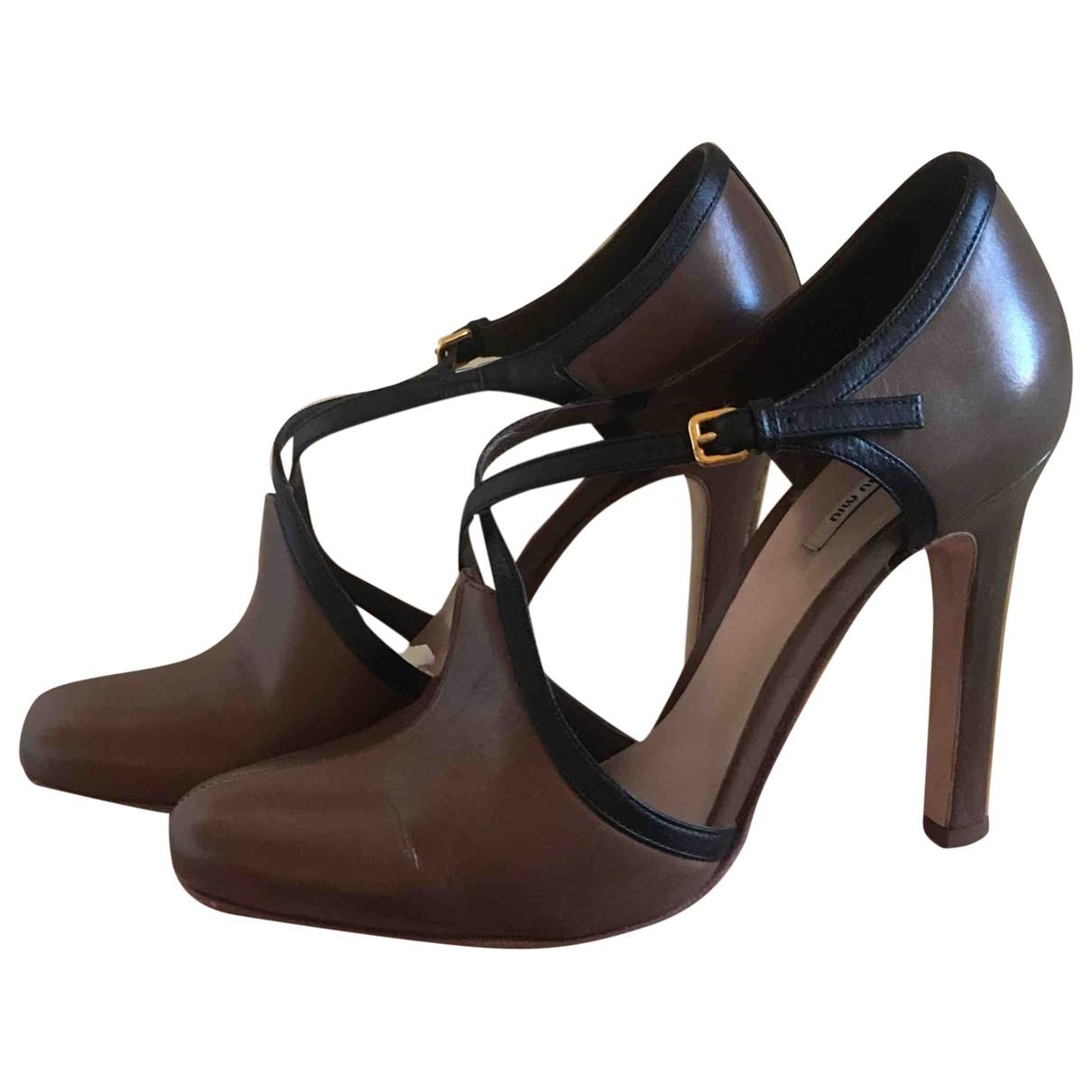 Miu Miu \N Brown Leather Heels for Women 37.5 EU