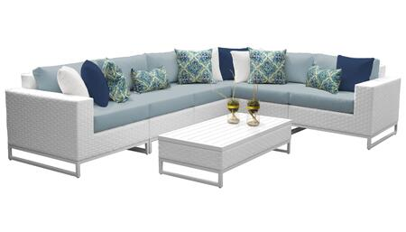 Miami MIAMI-07g-SPA 7-Piece Wicker Patio Furniture Set 07g with 1 Corner Chair  3 Armless Chairs  1 Coffee Table  1 Left Arm Chair and 1 Right Arm