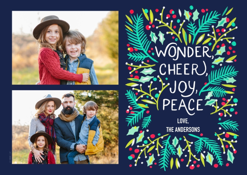 Christmas Photo Cards 5x7 Cards, Premium Cardstock 120lb with Elegant Corners, Card & Stationery -Mistletoe Wonder, Cheer, Joy, Peace by Hallmark