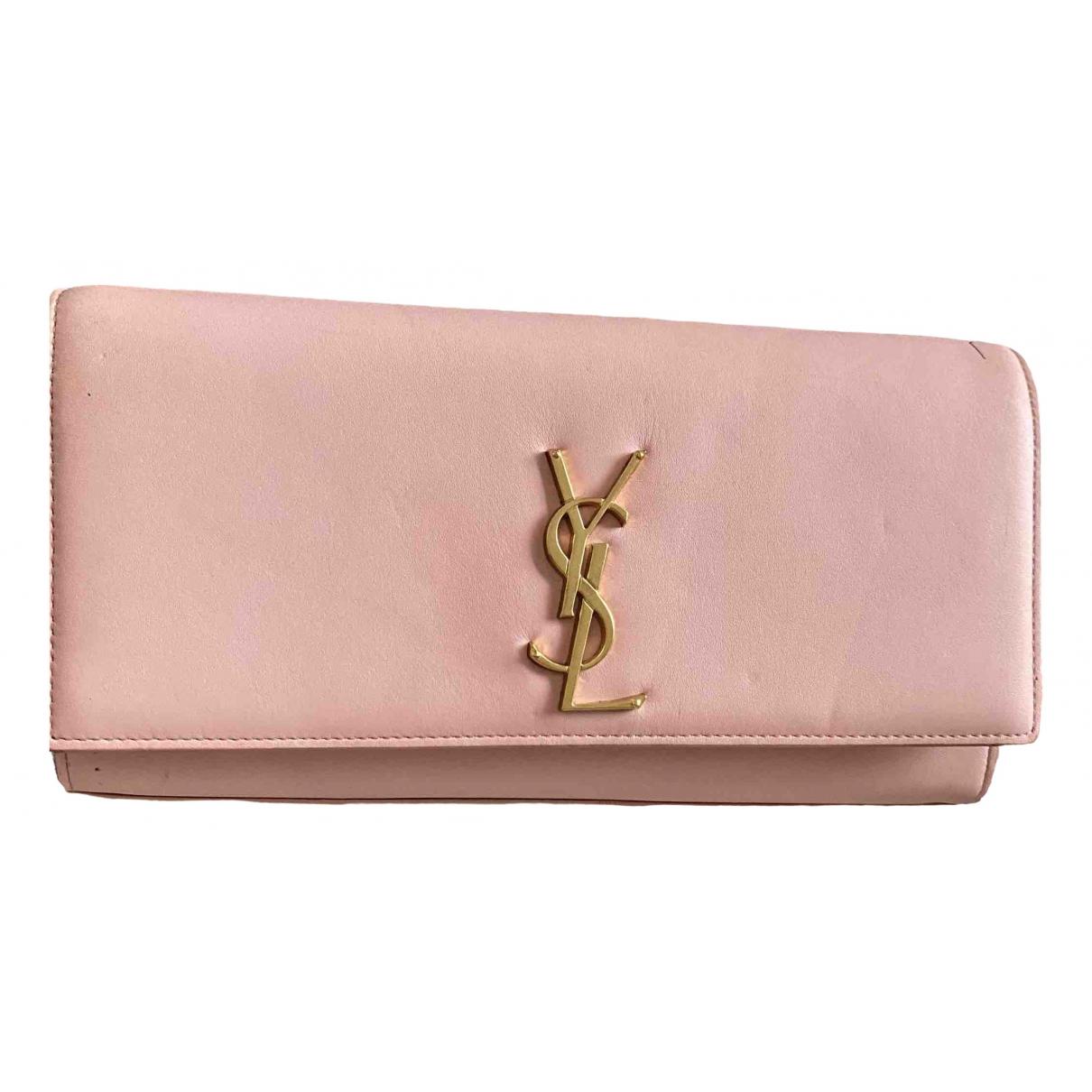 Saint Laurent - Pochette Kate monogramme pour femme en cuir - rose