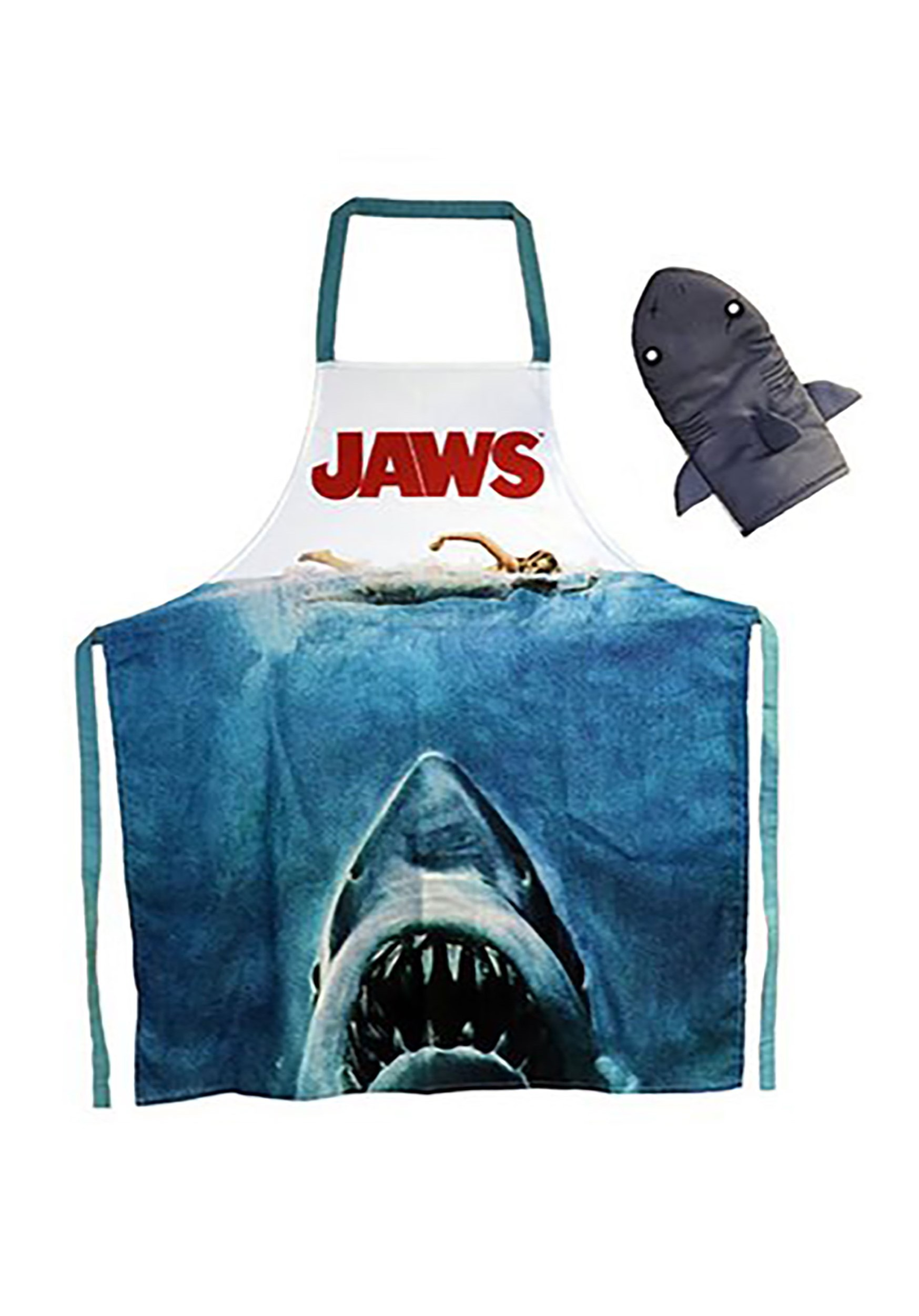 Jaws Apron and Oven Mitt Kitchen Set