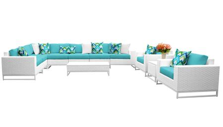 Miami MIAMI-11a-ARUBA 11-Piece Wicker Patio Furniture Set 11a with 1 Corner Chair  4 Armless Chairs  1 End Table  1 Coffee Table  2 Club Chairs  1
