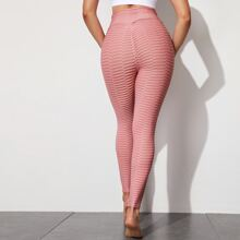 Waffle Textured Solid Sports Leggings