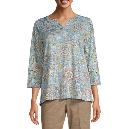 Alfred Dunner-Womens Split Crew Neck 3/4 Sleeve T-Shirt, Large , Green