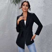 Notched Collar Buckle Belted Blazer
