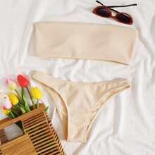 Gerippter Bandeau Bikini Badeanzug