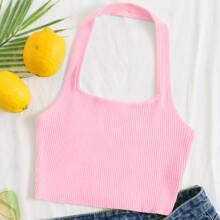 Rib-knit Halter Crop Top