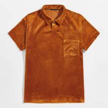 Camisa de terciopelo tapeta media con boton con bolsillo