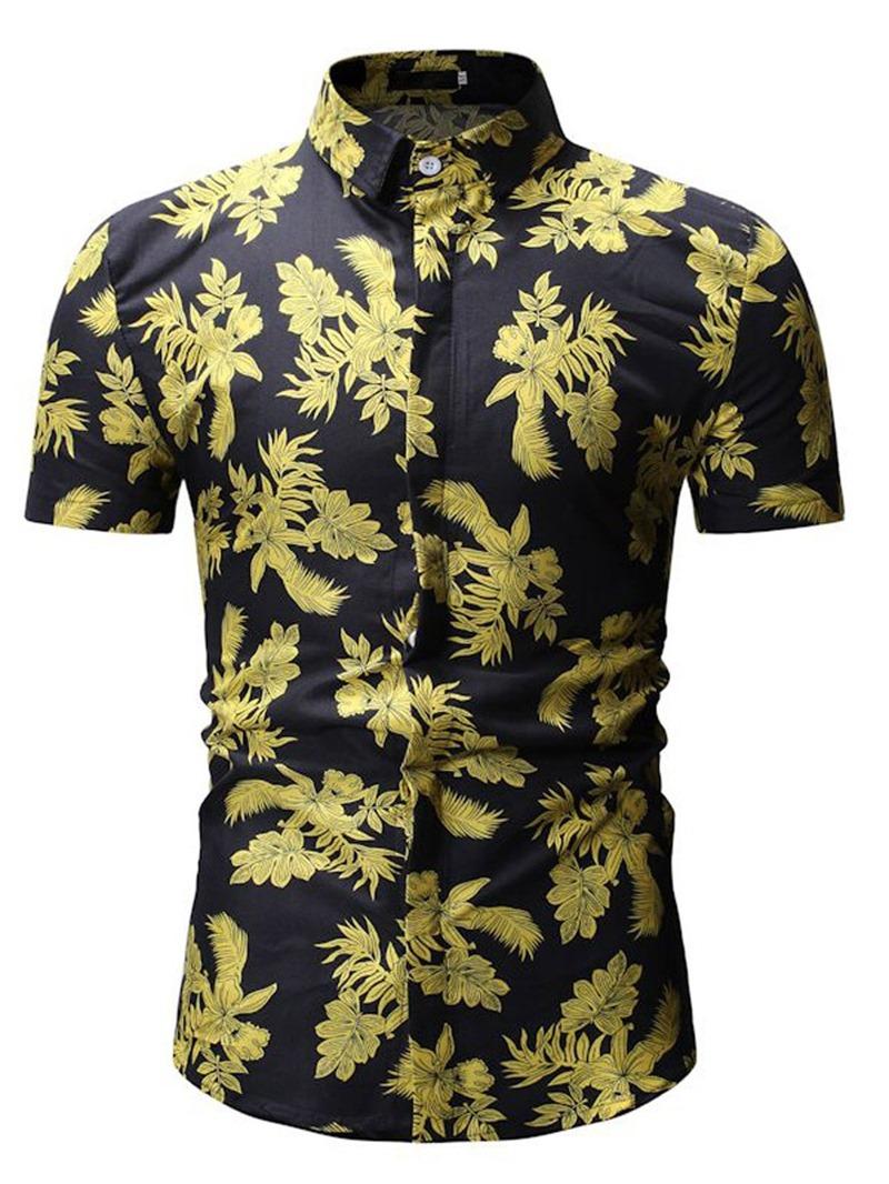 Ericdress Lapel Plant Printed Mens Casual Shorts Sleeve Shirt