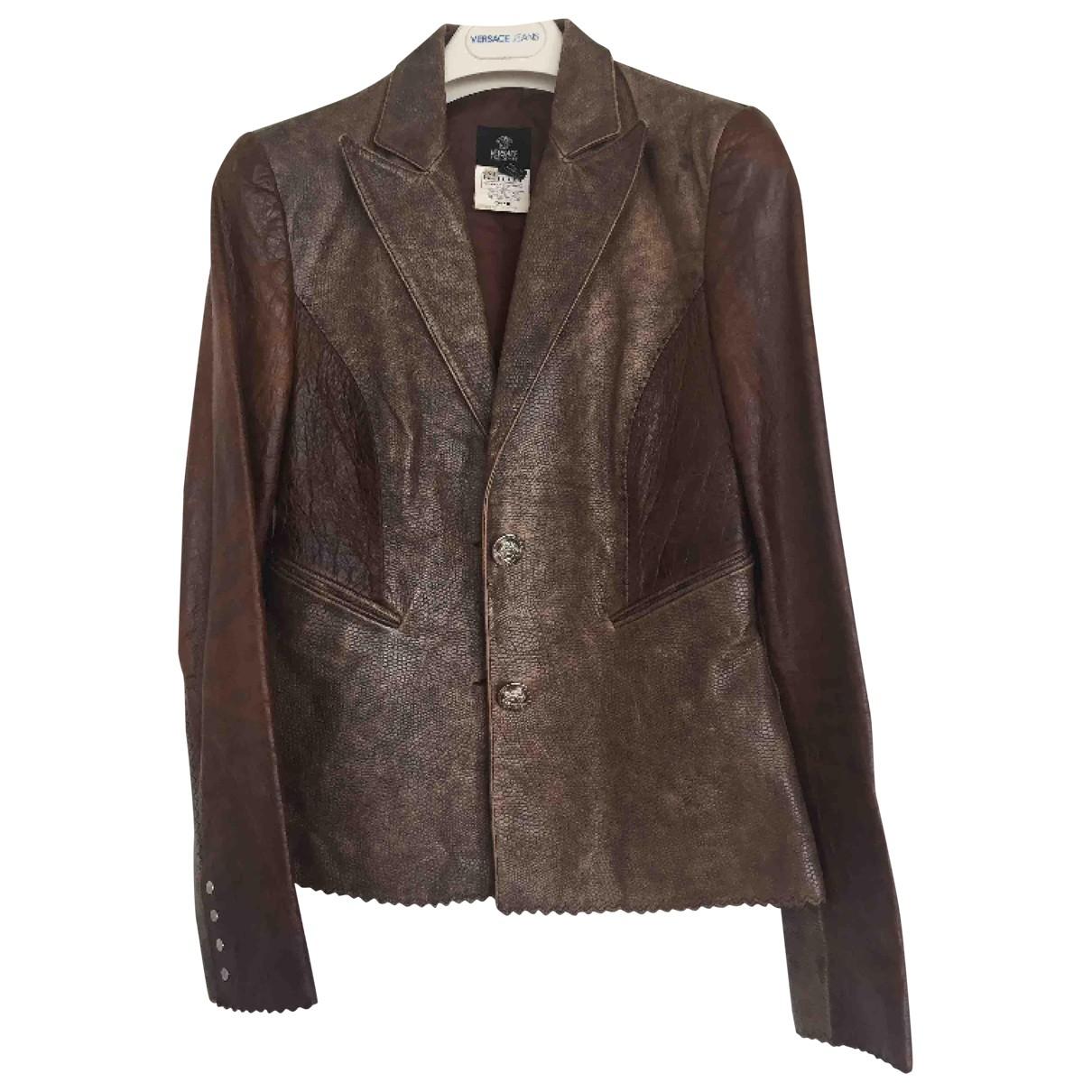 Versace Jean - Veste   pour femme en cuir - marron