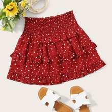 Polka Dot Shirred Waist Ruffle Skirt