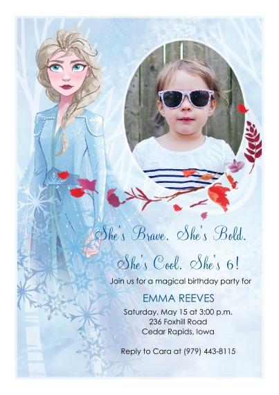 Kids Birthday Party 5x7 Cards, Premium Cardstock 120lb with Elegant Corners, Card & Stationery -Frozen Brave, Bold, Cool Birthday Invitation by Hallma