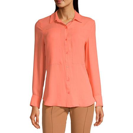 Worthington Womens Long Sleeve Button-Down Shirt, Small , Orange
