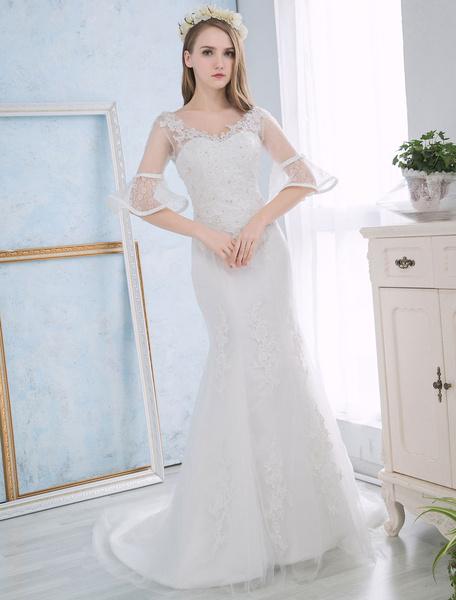 Milanoo Vestido de novia de sirena con cuentas Con cola cintura natural con cuello en V De banda de encaje con 1/2 manga de silueta sirena