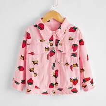 Toddler Girls Strawberry Print Raw Hem Denim Jacket