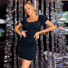 Ruched Lace Up Tie Front Bodycon Dress