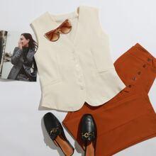 Einfarbige Blazer Weste mit Knopfen vorn und zwei Taschen