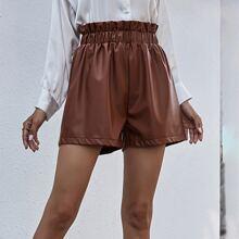 Shorts Cintura con volante Liso Casual