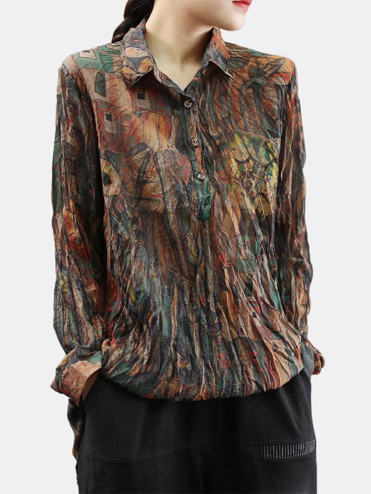 Vintage Print Long Sleeves Wrinkle Soft Lapel Blouse For Women