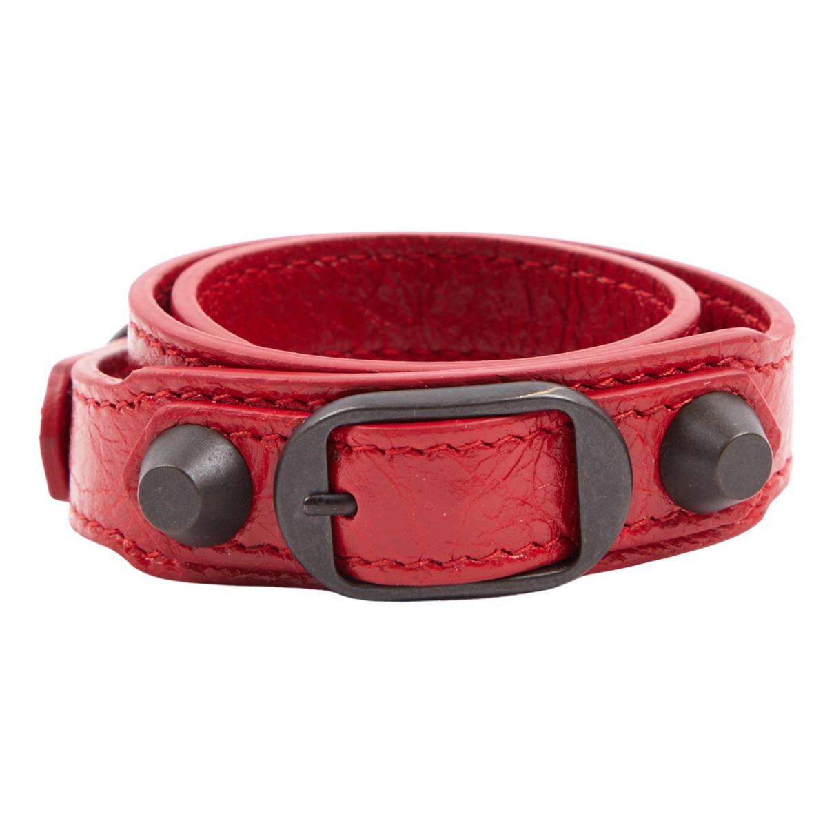 Balenciaga - Bracelet   pour femme en cuir - rouge