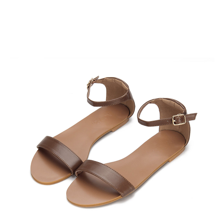 Yoins Brown Two Straps Design Leather Look Pin Buckle Closure Flat Sandals