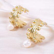 Faux Pearl Cuff Hoop Earrings