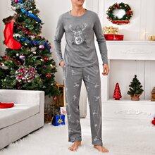 Guys Christmas Elk Print PJ Set