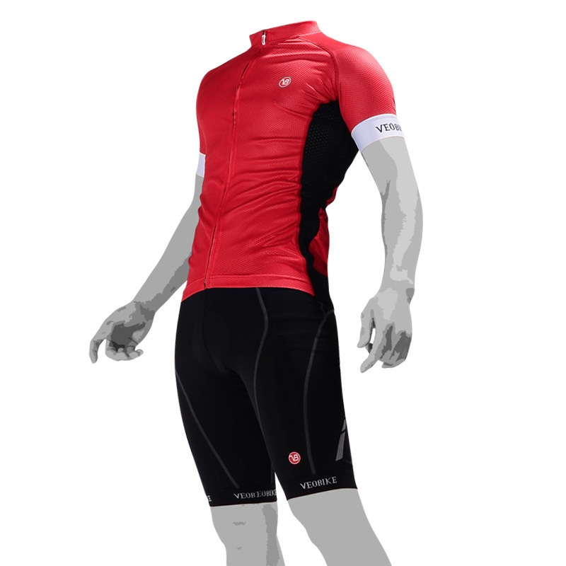 3D Silicone Magic Padded for Bike Men Cycling Jersey Set Red
