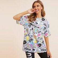 Camiseta amplia con estampado de arte pop