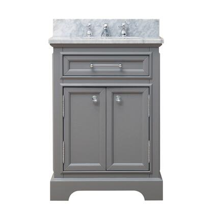 Derby Collection DERBY24GF 24 Single Sink Bathroom Vanity with 2 Doors  Faucet  Carrara Marble Countertop  Tempered Glass Knobs  Ceramic Sink and