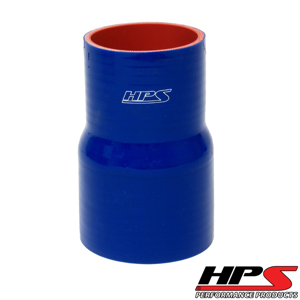 HPS 3.5 to 3.75inch  (89mm to 95mm) 4-ply Reinforced Reducer Coupler Silicone Hose 6inch Long Blue