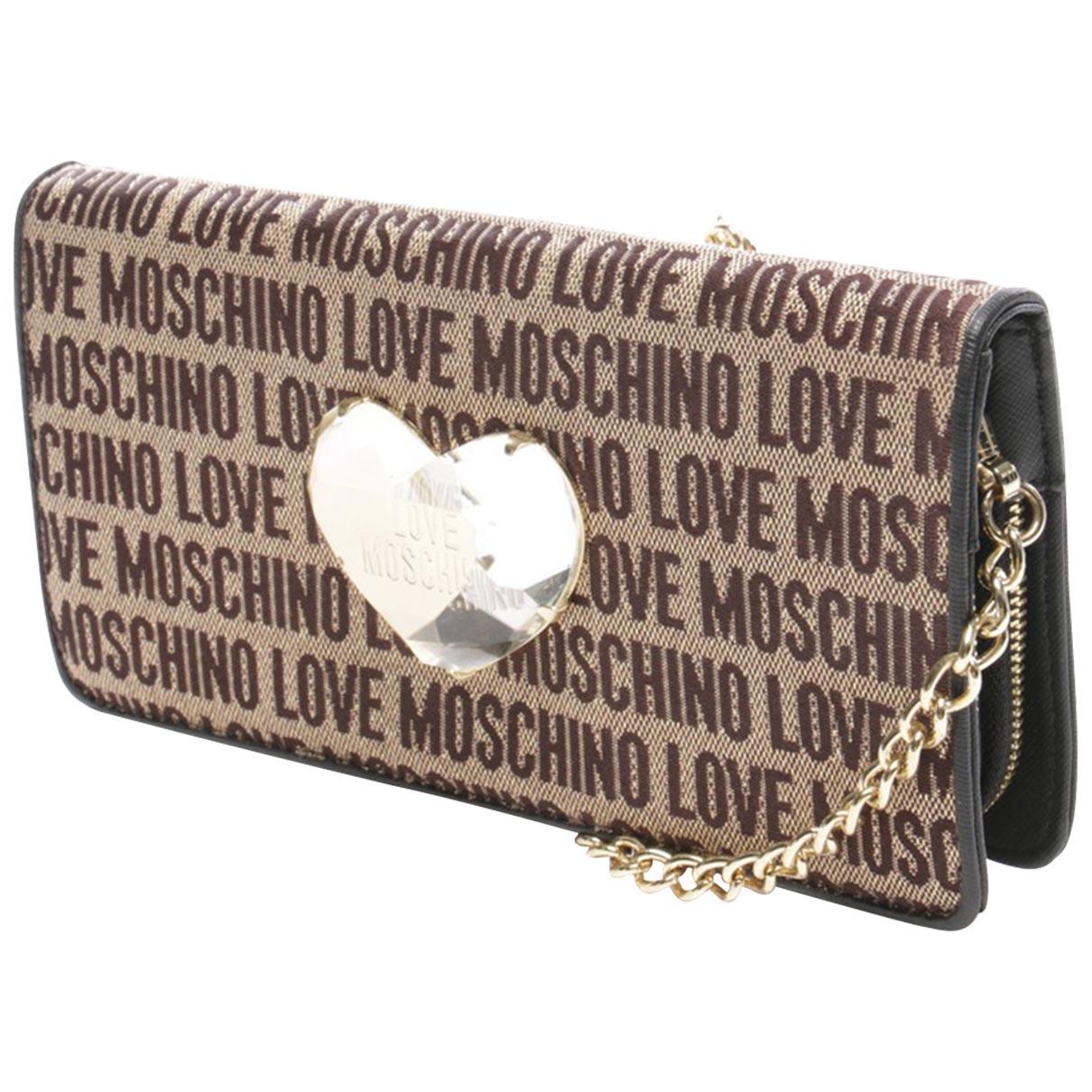 Moschino Love \N Clutch in  Beige Leinen
