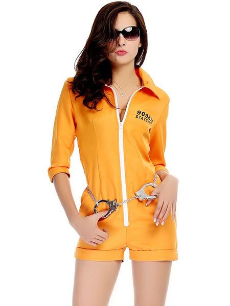 Milanoo Halloween Costume Prison Costumes Women Yellow Jumpsuit Holiday Costume