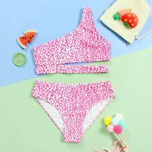 Bikini Badeanzug mit Muster, Ausschnitt und einer Schulter