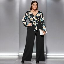 Plus Floral Print Wide Leg Belted Jumpsuit