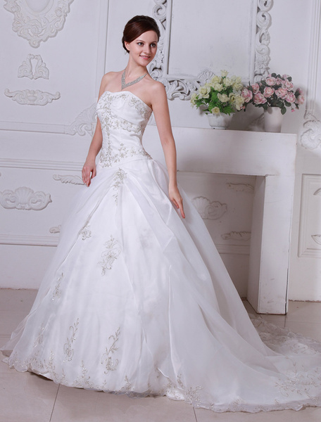 Milanoo White Wedding Dresses Strapless Bridal Gown Lace Embroidered Sweetheart Neckline Organza Satin Side Draped Wedding Gown With Train