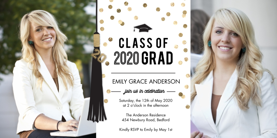 2020 Graduation Invitations Flat Matte Photo Paper Cards with Envelopes, 4x8, Card & Stationery -2020 Grad Party Tassel by Tumbalina