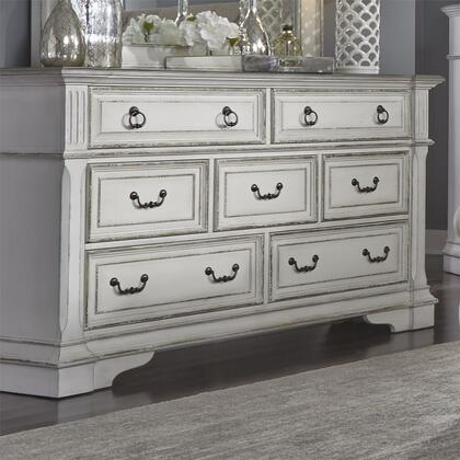 Abbey Park 520-BR31 Dresser with 7 Drawers  Drop Ring Hardware  French and English Dovetail Construction Block Feet in Antique White