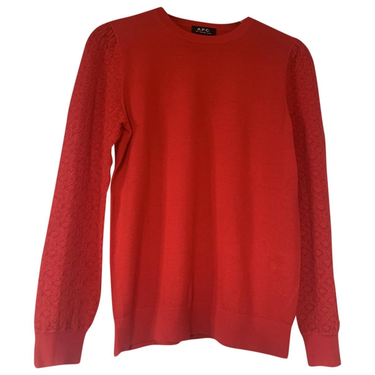 Apc - Pull   pour femme en coton - rouge