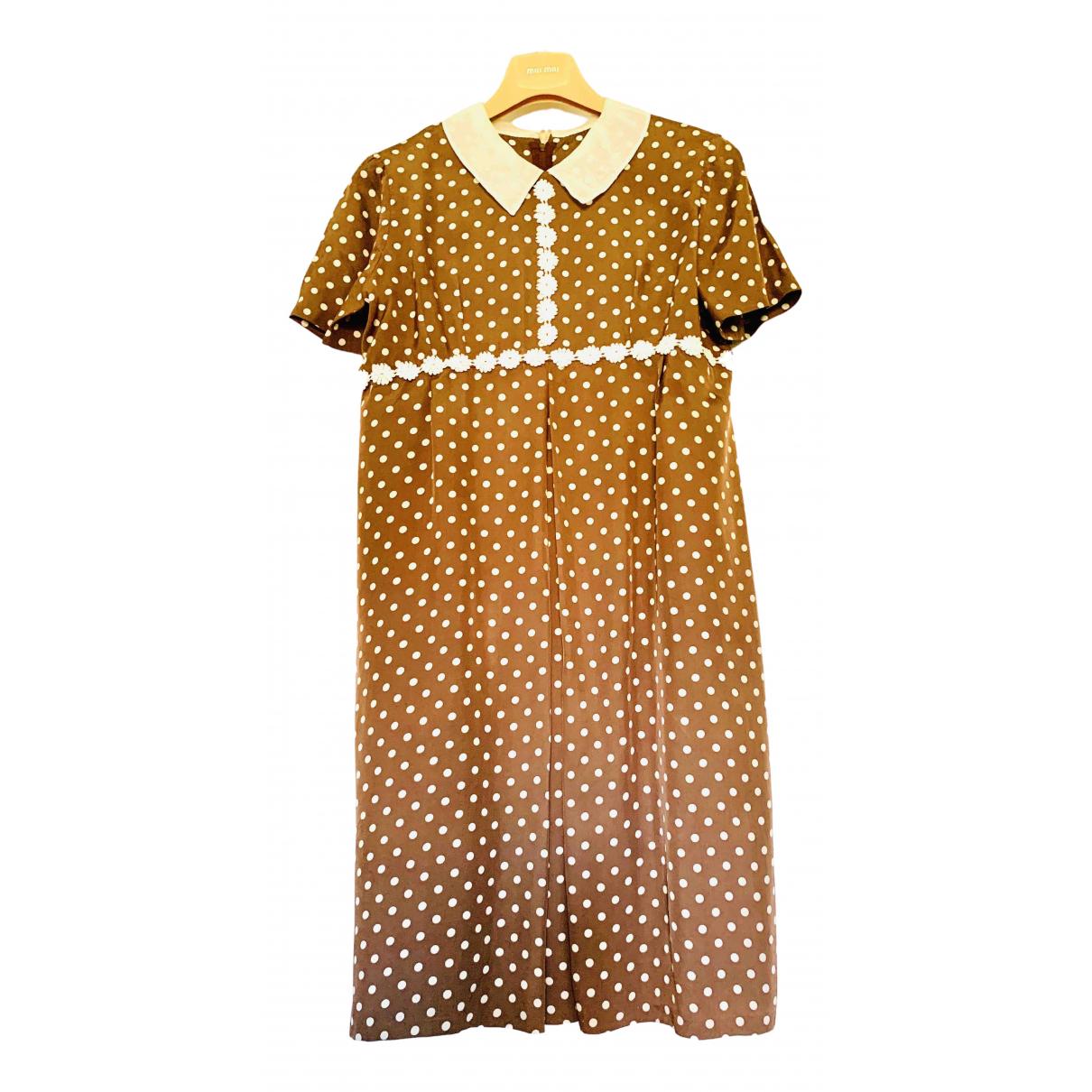 Non Signe / Unsigned Manche ballon Kleid in  Braun Polyester