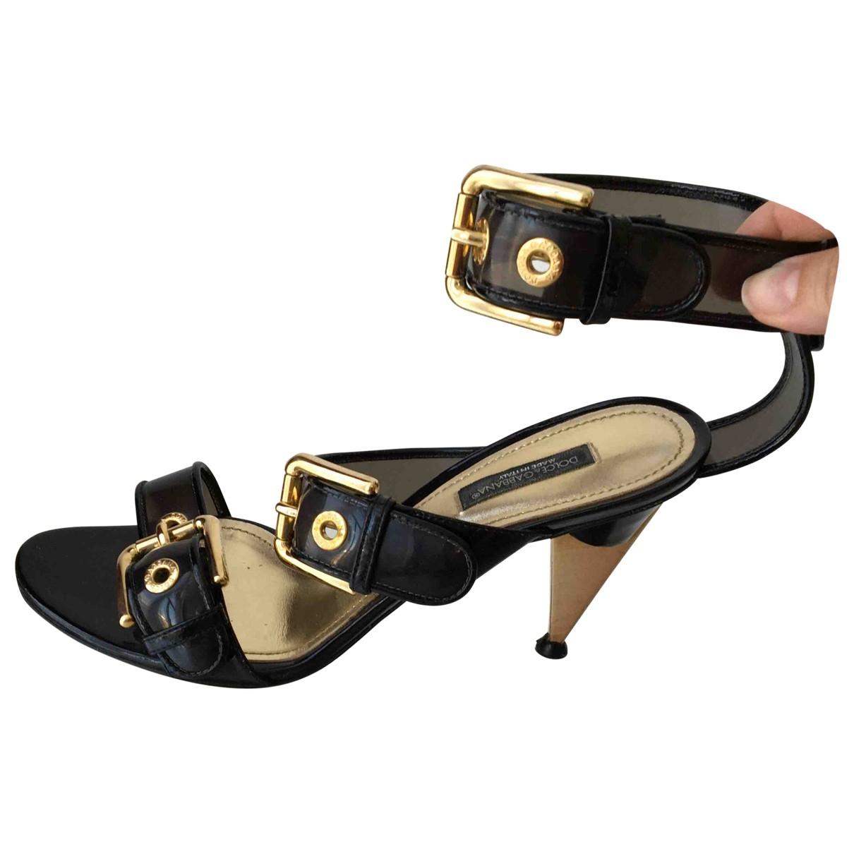 Dolce & Gabbana \N Black Leather Sandals for Women 38 EU