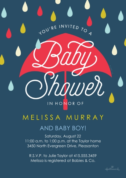 Baby Shower Invitations 5x7 Cards, Premium Cardstock 120lb with Rounded Corners, Card & Stationery -Umbrella and Raindrops