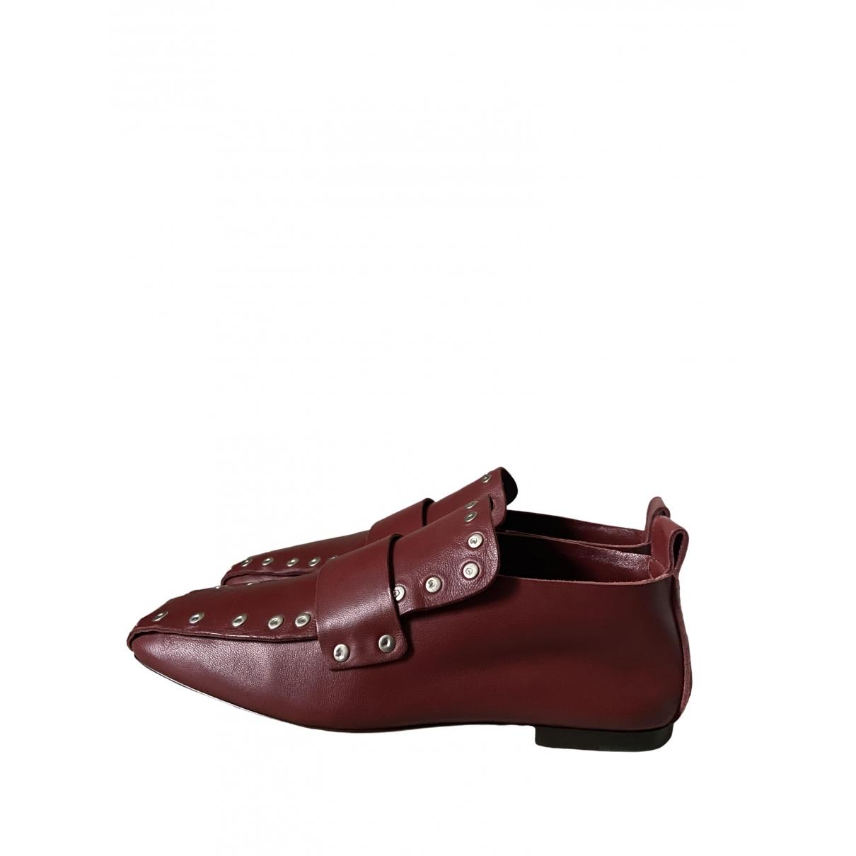Celine \N Burgundy Leather Flats for Women 37 EU