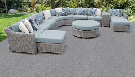 Coast Collection COAST-11c-SPA 11-Piece Patio Set 11c with 2 Corner Chair   4 Armless Chair   2 Ottoman   1 Cup Table   1 Round Coffee Table   1