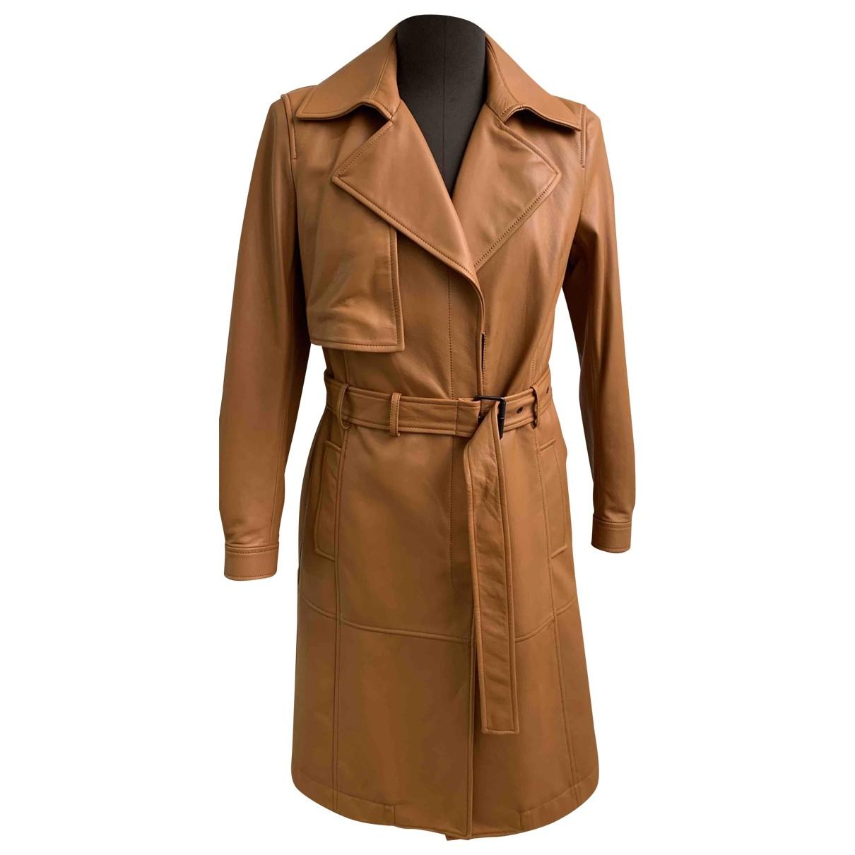 Trussardi - Blouson   pour femme en cuir - marron