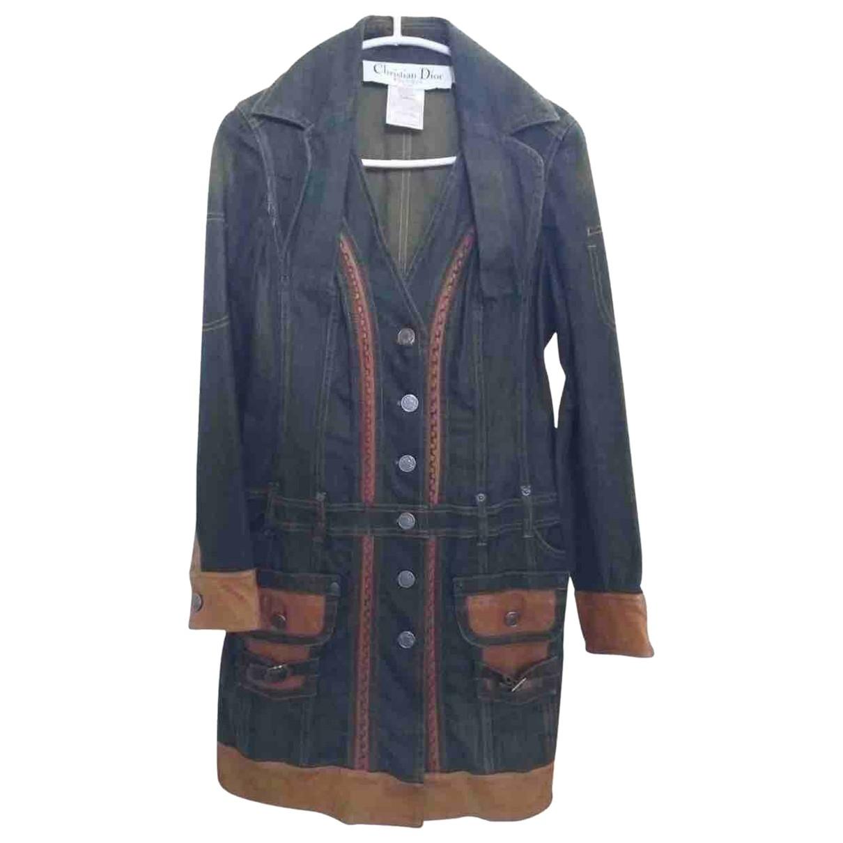 Dior - Manteau   pour femme en cuir - bleu