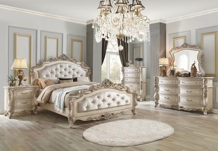 Gorsedd Collection 27440QSET 5 PC Bedroom Set with Queen Size Bed  Dresser  Mirror  Chest and Nightstand in Antique White