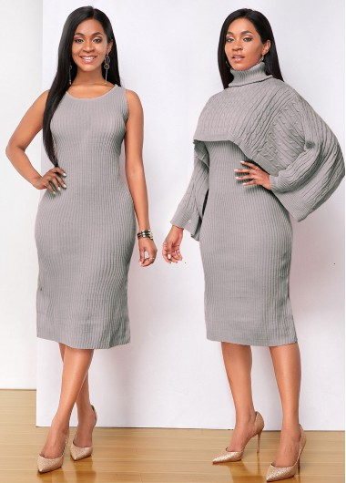 Cocktail Party Dress Long Sleeve Turtleneck Top and Sleeveless Sweater Dress - S