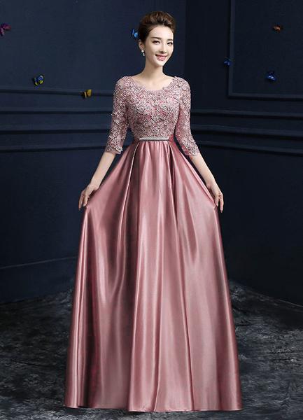 Milanoo Vestidos de fiesta largos Vestido de noche 2020 Cameo Pink con 1&2 manga con escote redondo con pliegues